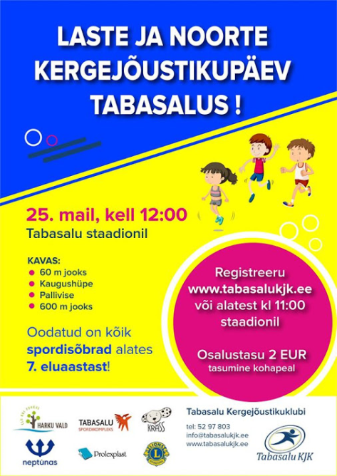 5eca650efda Harku vallas toimub: Laste ja noorte kergejõustikupäev Tabasalus ...